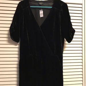Ann Taylor Loft Black Velvet V-neck Shorts Romper